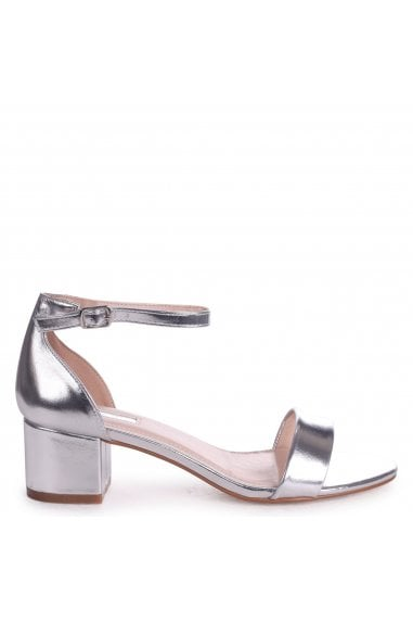 HOLLIE - Silver Metallic Barely There Block Heeled Sandal With Closed Back