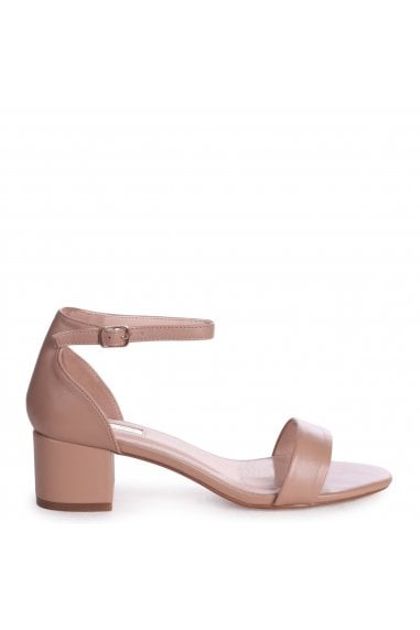 HOLLIE - Mocha Nappa Barely There Block Heeled Sandal With Closed Back