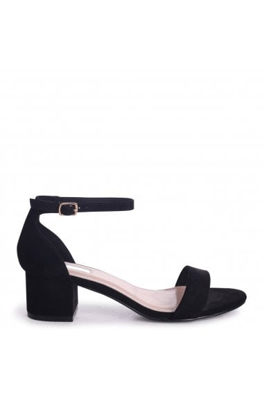 HOLLIE - Black Suede Barely There Block Heeled Sandal With Closed Back