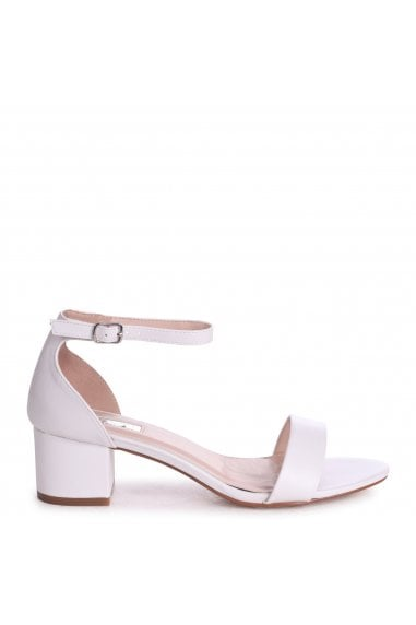 HOLLIE - White Nappa Barely There Block Heeled Sandal With Closed Back