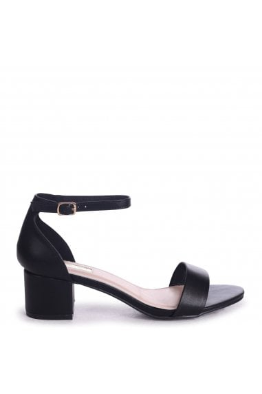 HOLLIE - Black Nappa Barely There Block Heeled Sandal With Closed Back