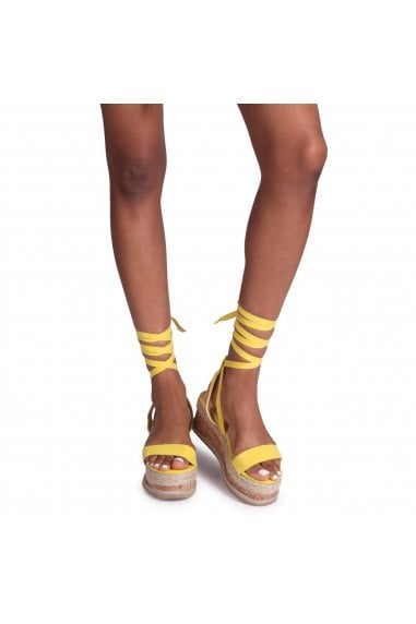 CASSIE - Neon Yellow Tie Up Espadrille Inspired Flatform