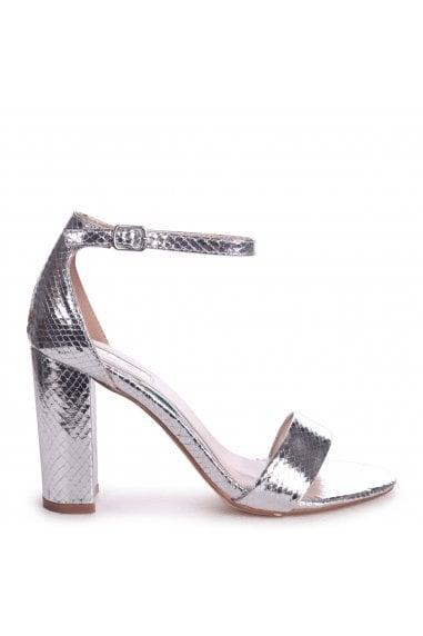 Nelly Silver Lizard Single Sole Block Heels