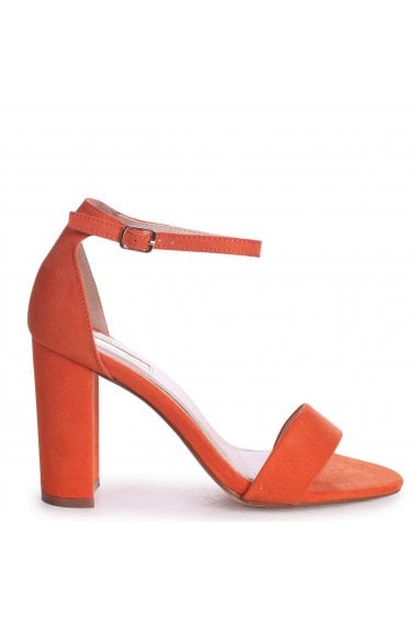 Nelly Orange Suede Suede Single Sole Block Heels
