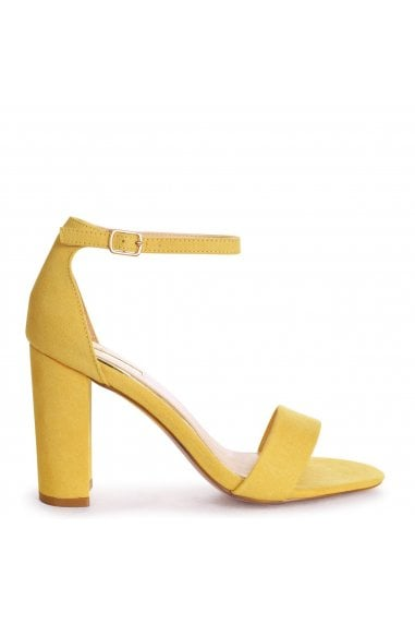 Nelly Yellow Suede Suede Single Sole Block Heels