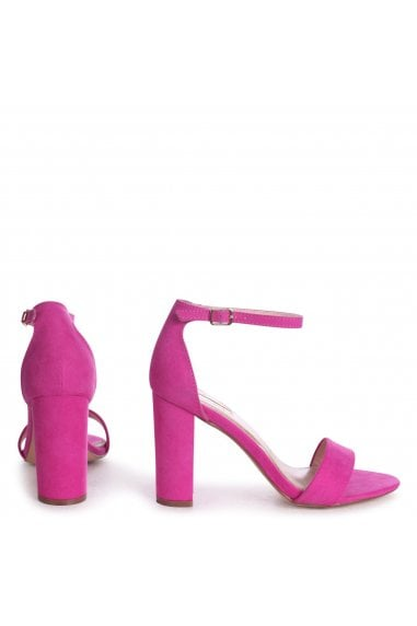 Nelly Hot Pink Suede Suede Single Sole Block Heels