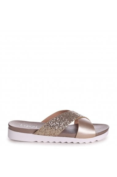 Sarita Gold Glitter Sliders With Crossover Front Strap And Cleated Sole