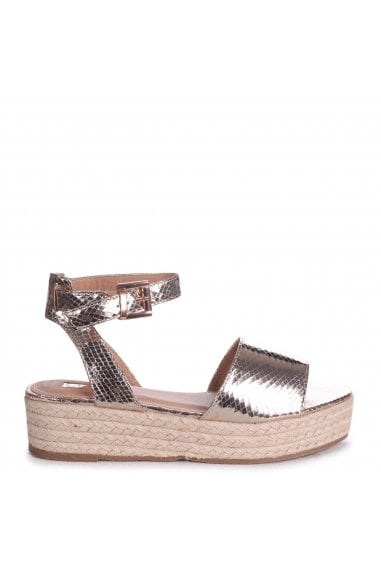 Destiny Gold Lizard Espadrilles Inspired Two Part Flatform With Buckle Detail