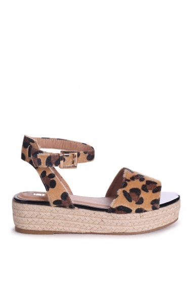 Destiny Leopard Print Espadrilles Inspired Two Part Flatforms With Buckle Detail