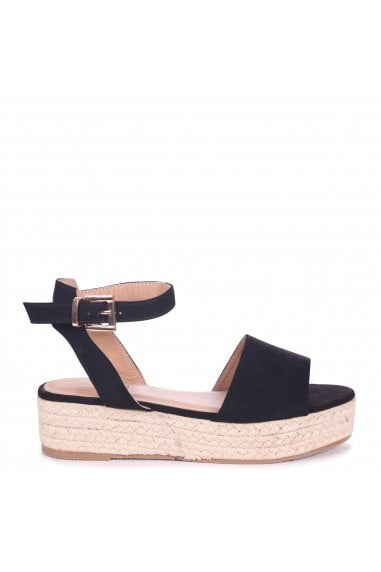 Destiny Black Suede Espadrilles Inspired Two Part Flatforms With Buckle Detail