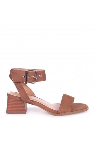 e9a411f26bf9 VENUS - Tan Suede Stacked Block Heel Sandal With Large Buckle Detail. Linzi  ...