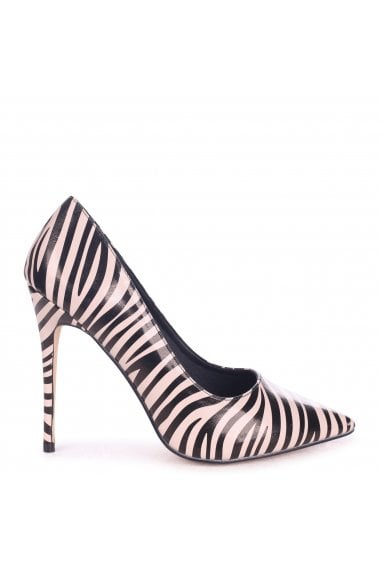Tally Nude Zebra Print Nappa Classic Pointed Court Heels