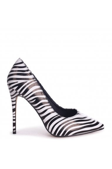 TALLY - Black Zebra Print Nappa Classic Pointed Court Heel
