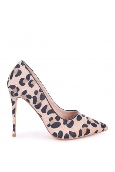 TALLY - Natural Leopard Print Pony Classic Pointed Court Heel
