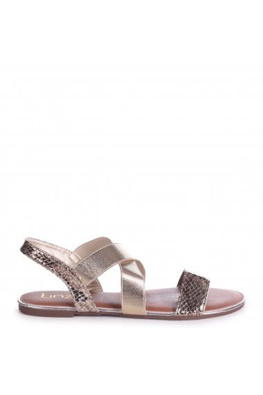 MARTINI - Gold Sandal With Elastic Crossover Strap And Snake Detail