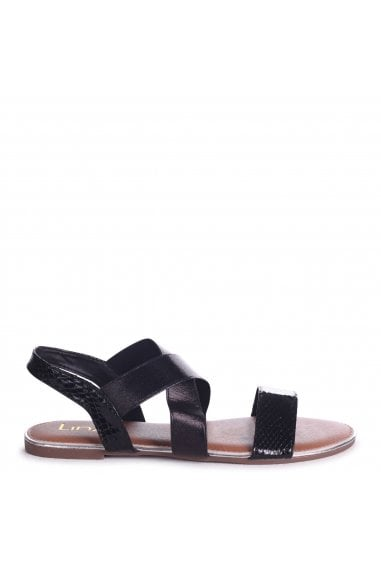 MARTINI - Black Sandal With Elastic Crossover Strap And Snake Detail