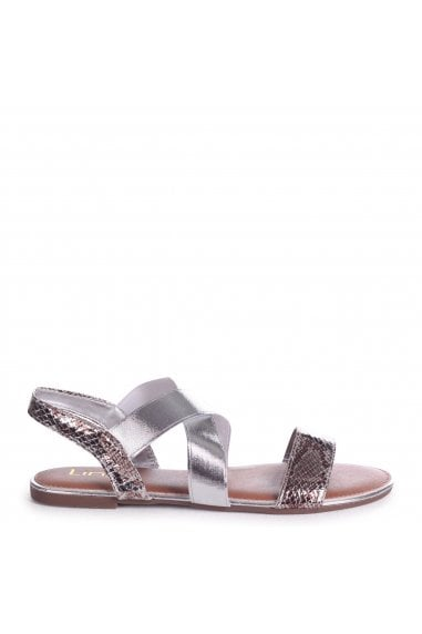 MARTINI - Silver Sandal With Elastic Crossover Strap And Snake Detail
