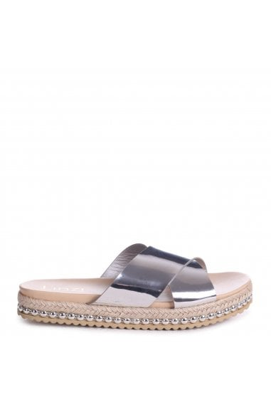 VIVA - Silver Detailed Flatform Slider With Crossover Front Strap