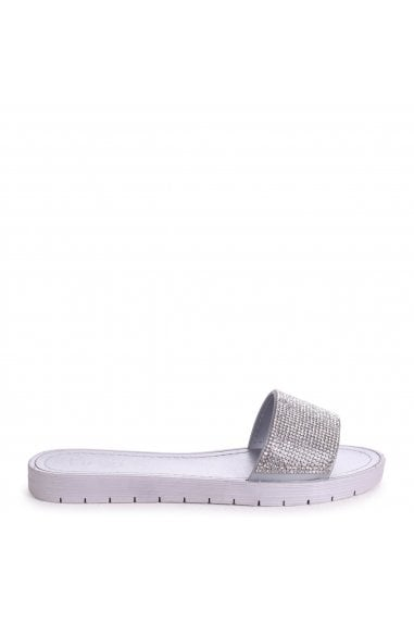 TATIANNA - Silver Diamante Slip On Slider With Rubber Sole