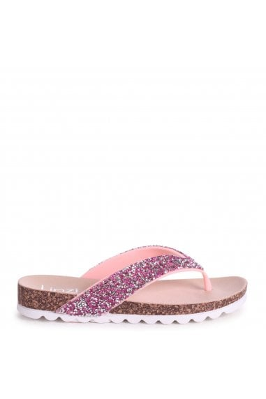 JANA - Pink Diamante Toe Post Sandal With Cleated Sole