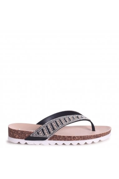 PETRA - Black Diamante Toe Post Sandal With Cleated Sole