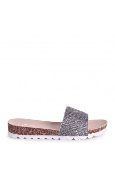 CYPRUS - Silver Glitter Slip On Slider With White Cleated Sole