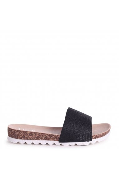 CYPRUS - Black Glitter Slip On Slider With White Cleated Sole