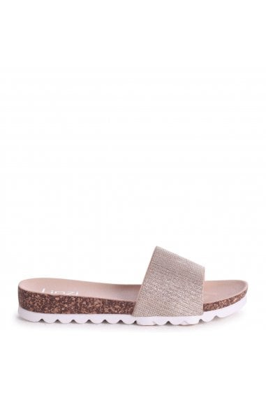 CYPRUS - Gold Glitter Slip On Slider With White Cleated Sole
