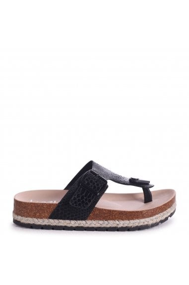 MONICA - Black Snake Toe Post Flatform Sandal