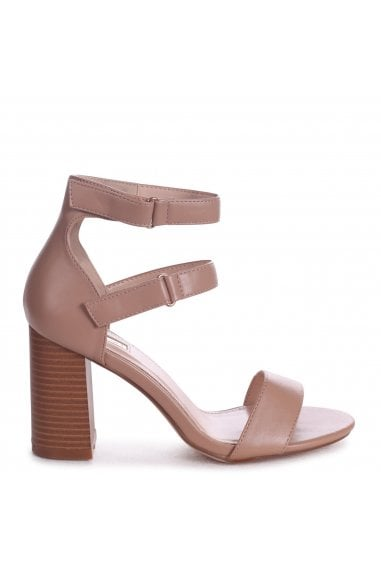 LOUISE - Mocha Nappa Block Heeled Sandal With Stacked Heel & Velcro Strap