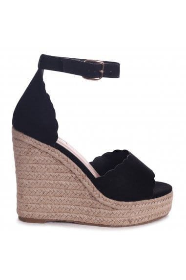 CHERISH - Black Suede Rope Platform Wedge With Wavey Front Strap