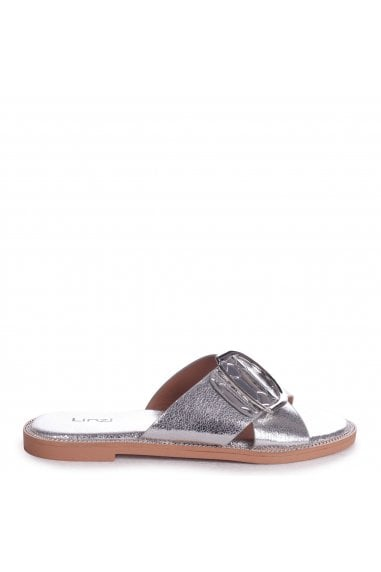 VEGAS - Silver Slip On Slider With Crossover Front Strap & Giant Buckle Detail