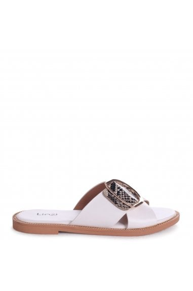 VEGAS - White & Natural Snake Slip On Slider With Crossover Front Strap And Giant Buckle Detail