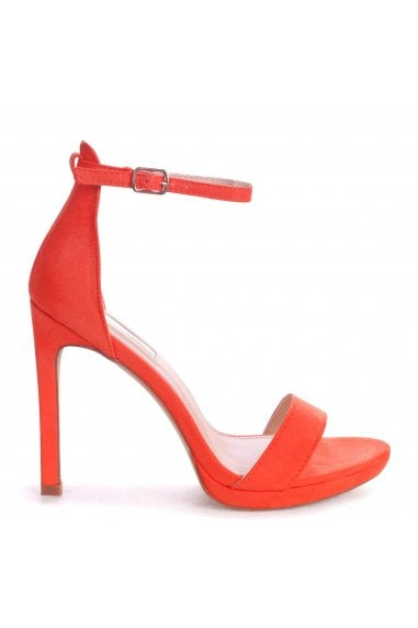 GABRIELLA - Orange Suede Barely There Stiletto Heel With Slight Platform
