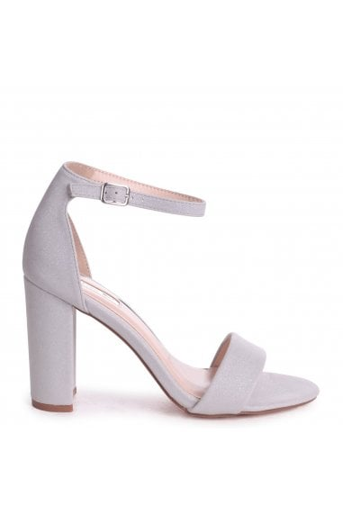 Nelly Grey Glitter Suede Suede Single Sole Block Heels