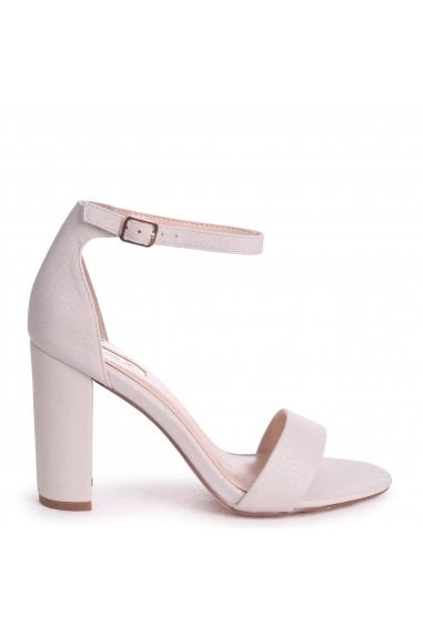 Nelly Cream Glitter Suede Suede Single Sole Block Heels