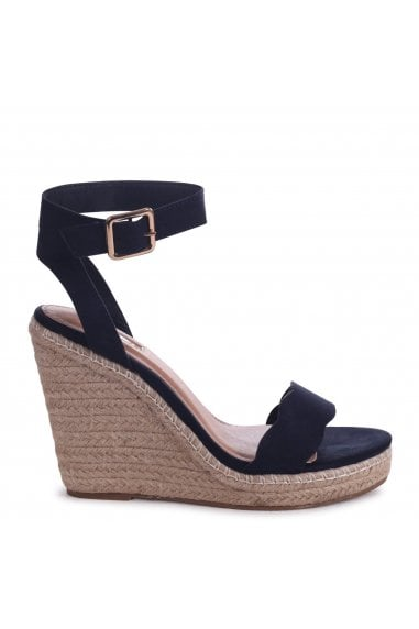 MARS - Navy Suede Rope Platform Wedge With Wavey Front Strap