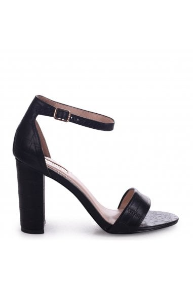 Nelly Black Croc Nappa Single Sole Block Heels