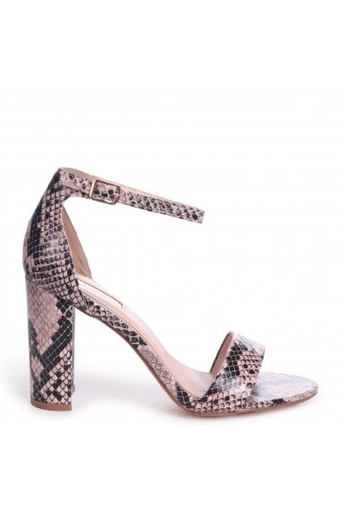 Nelly Pink Snake Nappa Suede Single Sole Block Heels