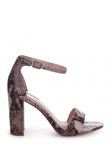 NELLY - Beige Snake Nappa Suede Single Sole Block Heel