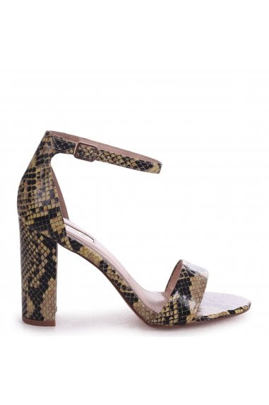 Nelly Yellow Snake Nappa Suede Single Sole Block Heels