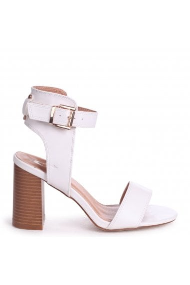 Kerry White Nappa Open Toe Stacked Block Heels With Ankle Straps