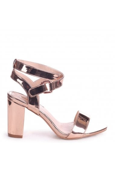 ABBY - Rose Gold Metallic Block Heeled Sandal