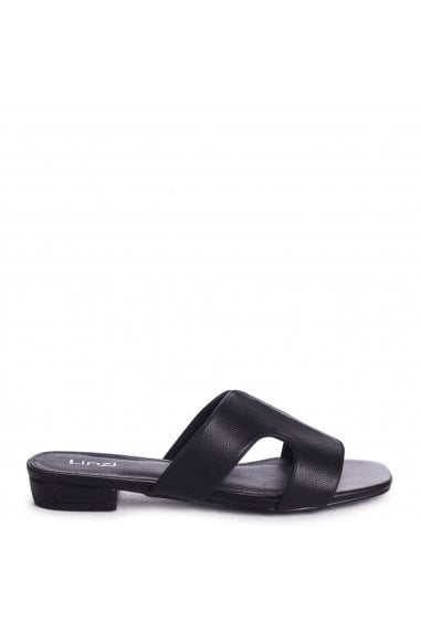 Miami Black Nappa Slip On Sliders With Square Toe