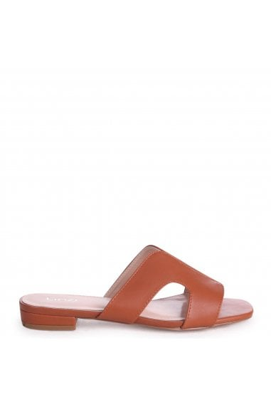 Miami Tan Nappa Slip On Sliders With Square Toe