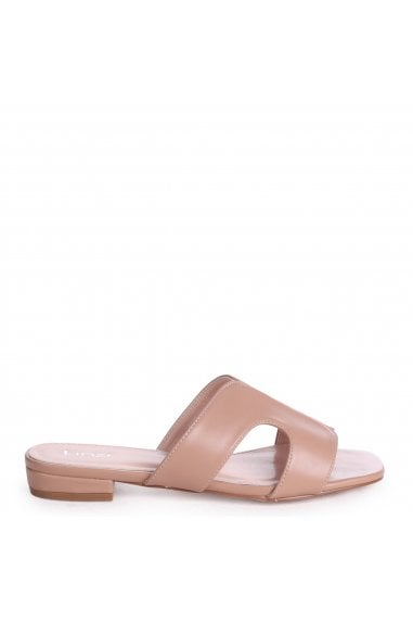 Miami Mocha Nappa Slip On Sliders With Square Toe