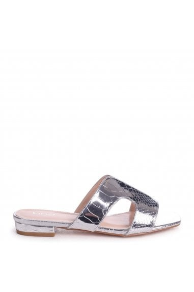 MIAMI - Silver Metallic Croc Slip On Slider With Square Toe