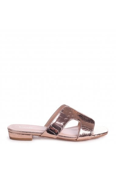 MIAMI - Rose Gold Metallic Croc Slip On Slider With Square Toe