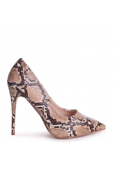 Aston Brown Snake Nappa Classic Pointed Court Heels