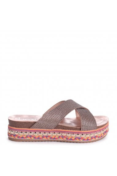 ANGEL - Rose Gold Slip On Espadrille Flatform Slider With Glitter Pattern Crossover Front Strap